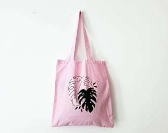 Black monstera TOTE BAG  | hand painted | shopping bag, grocery bag, reusable bag, shoulder bag, minimalistic, plant lady, boho bag, tropic