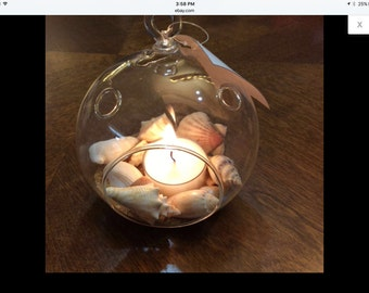 Glass Globe Hang or Tabletop Beach Scene With Sand , Shells and Candle