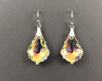 Crystal Earrings In Silver With Aurora Borealis Swarovski Crystal Pendant