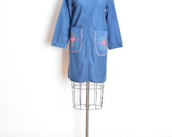 vintage 60s dress, peter pan collar, mod dress, embroidered dress, hippie dress, blue dress, 1960s 60s clothing, 60s mini dress, M medium