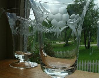 Set Of 6 Cut Crystal Pedestal Bell Trumpet Shaped Fluted Fine Parfait Dessert Juice Wine Drinking Glass Drinkware Set Flower Vintage Glass