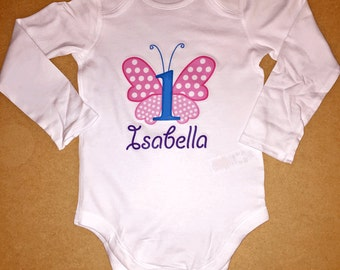 Baby Body Suit - First Birthday Butterfly // First Birthday Baby Gift // Babygrow