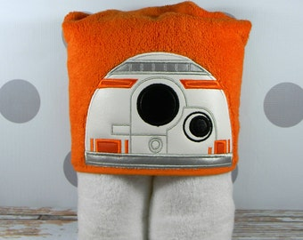Kids Hooded Towel BB8 Droid - Character Inspired BB8 Towel for Bath, Beach, or Swimming Pool