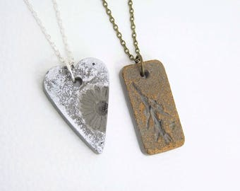 Necklace Concrete with Plant imprint * Metallic nature * Heart/Rectangle/oval-silver-rose gold-bronze-gift-