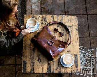 Leather Bag, Leather Handbag,  Leather Shoulder Bag, Leather Purse, Brown Shoulder Bag, Floto Tavolie (5541BROWN)