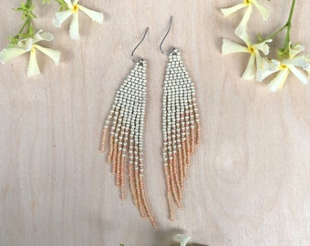 Handwoven beaded earrings, matte silver and peach champagne
