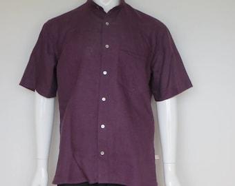 Plum colored linen short sleeve shirt