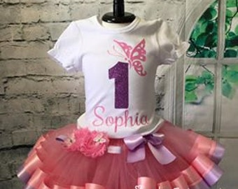 Butterfly tutu,  Butterfly outfit, Butterfly birthday outfit, Butterfly first birthday, pink and purple tutu, butterfly shirt
