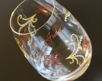 Autumn Fall Leaves Wine Glass, Stemless Glasses, Personalized Painted, Copper Gold, September October November Thanksgiving, Rustic Woodland