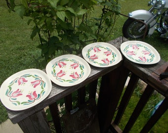 Vintage Purinton Pottery Slip Ware Hand Painted Pennsylvania Dutch Set of 4 Salad Plates