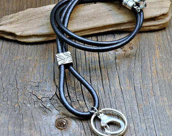 Leather ID Lanyard, Black ID Lanyard,Silver Lanyard, ID Badge Lanyard, id lanyard, id badge holder,lanyard,women's lanyard, men's lanyard