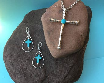 Sacred Cross Necklace and Earrings Set