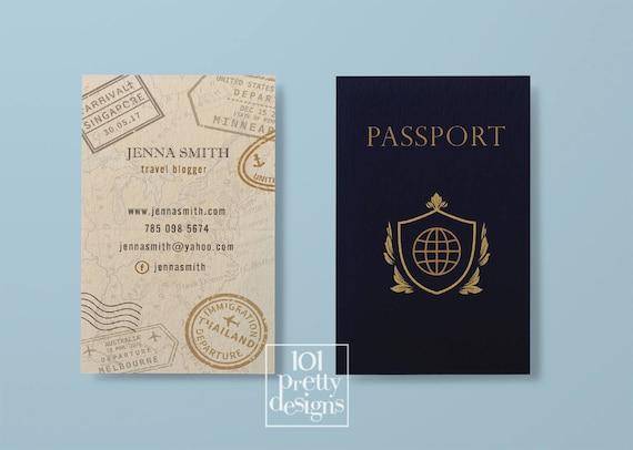 Travel business card traveller business card passport business