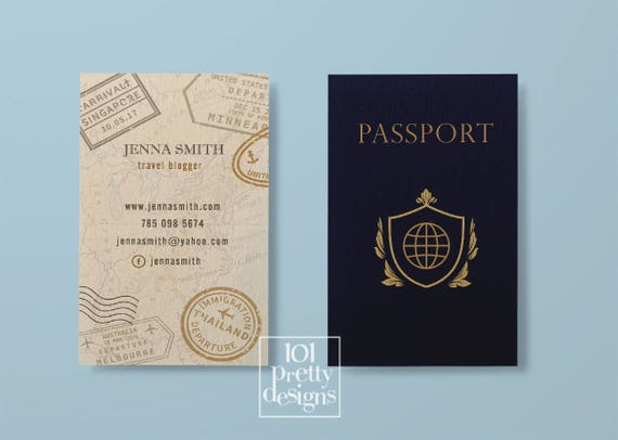 Travel business card traveller business card passport business colourmoves