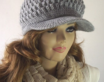 KNITTING PATTERN HAT - Claire Newsboy Hat Knitted Brim Cap woman Hat pdf Pattern tutorial with Pictures