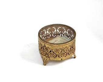 Matson Vintage Ormolu Gold Filigree Jewelry Box, Beveled Glass Vitrine Jewelry Casket, Trinket Box, Antique Victorian Bronze Jewelry Box