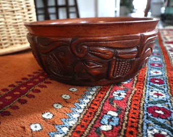Hand carved tribal style wooden bowl from Honduras