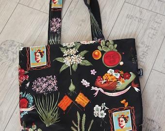 Mexico shopper bag reversible shoulder bag rockabilly retro pin-up cactus dia de muertos valentine's day girlfriend present gift