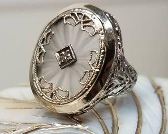 Art Deco 14K White Gold Camphor Diamond Filigree Ring