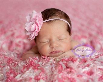 Pink headband, baby hairband, light pink baby headband, baby hair bow, infant headband, newborn headband, pink flower headband, photo prop,