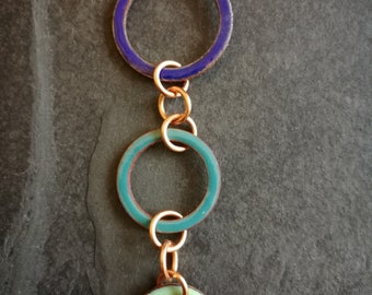 Shades of blue and turquoise enamelled copper washers necklace (#0244)