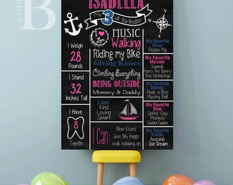 Nautical Girl Birthday Poster - Nautical Birthday Chalkboard - 1st Birthday Posteror Any Age - Nautical Birthday Party -Beach Party