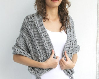 Hand Knitted Gray Shawl / Oversized Rectangle Knitting Scarf / Valentine's day Gift / Outdoors Gift