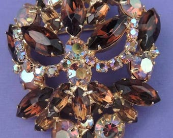 Vintage Aurora Borealis and Amber Rhinestone Brooch, Amber Crystal Brooch, Aurora Borealis Brooch, Aurora Borealis Pin, A/B Jewelry