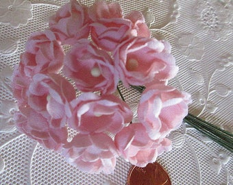 Cotton Fabric Millinery Flowers From Austria 12 Pink Petal Flowers#A80P