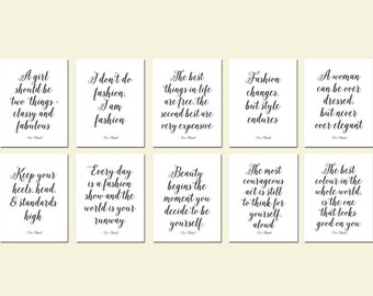 Set of 10 Coco Chanel Quotes 5x7 Chanel Prints Chanel Decor Chanel Art Fashion Quote Chanel Print Set of Prints Chanel Black and White