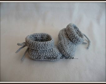 BABY GREY CROCHETED NEWBORN BABY BOOTIES