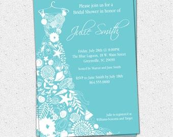 Printable Bridal Shower Invitation Floral Seashell Dress, Elegant Sea Shell, Pick Your Color, Custom, Personalized Custom DIY Digital File