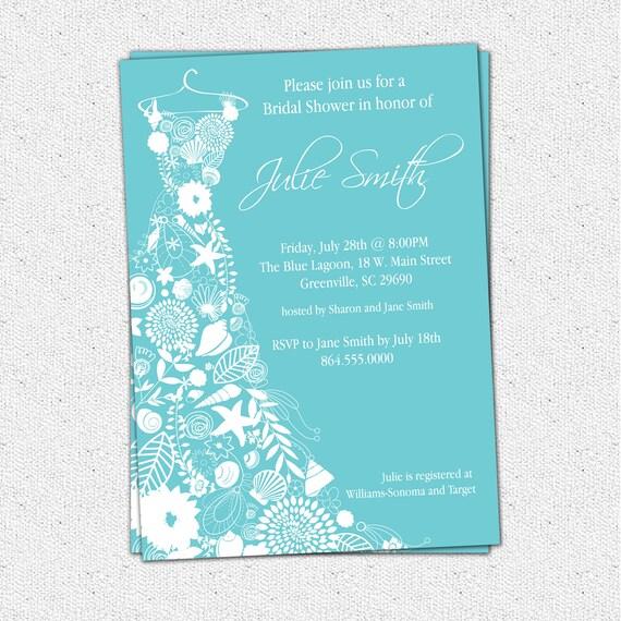 Printable Bridal Shower Invitation Floral Seashell Dress
