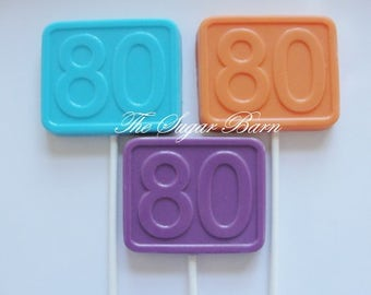 80th BIRTHDAY CHOCOLATE Lollipops*12 Count*80 and Excellent*The Big 80*Number 80*80th Birthday Party Favor*Milestone Birthday