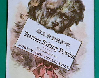 Victorian Trade Card 1800s, Cute Puppy Holding Advertising Sign, Mardens Peerless Baking Powder, Victorian Collectible