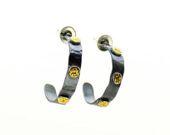Hoop Earrings, Silver Hoops, Hammered Hoops, Boho Earrings, Silver Hoop Earrings, Sterling Silver, Gold Hoops, Post Earrings
