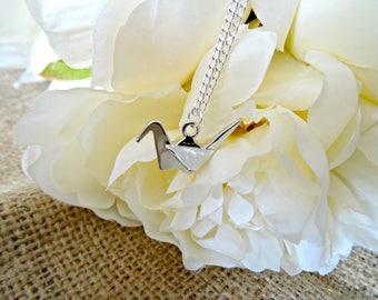 Origami Crane Necklace, Bird Necklace, Silver Plated Necklace, Origami Necklace, Raven Necklace