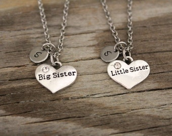 Big Sister Little Sister Necklace Set - Sisters Necklace - Daughter Necklace - Sister Heart Necklace - I/B