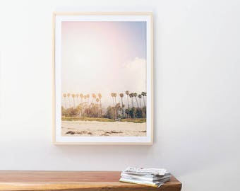Photographie de la grande plage / / grand Palm Tree Print / / plage photographie pour décor moderne / / palmier Doré impression Pastel «Palm Beach»
