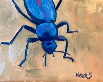 Original Oil Blue Beetle Insect Painting Creepy Crawly Entomologist Gifts for Him for Her Contemporary Art Birthday Gift Bug Lovers Bug Love