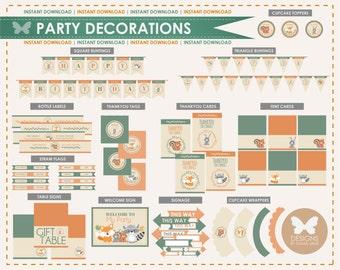 Printable Woodland Birthday Party Decorations, Party Printables, Instant Download, Woodland Party Decorations, 1st 2nd 3rd 4th 5th Birthday