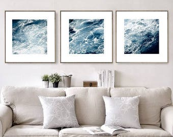 Nautical Decor, Set of 3 Prints, Abstract Print, Indigo Blue, Ocean Photography, Large Wall Art Prints, Coastal Decor, Printable Art, Scandi