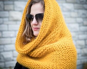Chunky knit cowl | Wool scarf cowl | Chunky snood | Hooded scarf | Chunky cowl scarf snood | Knitted cowl snood | Wool scarf | Winter scarf