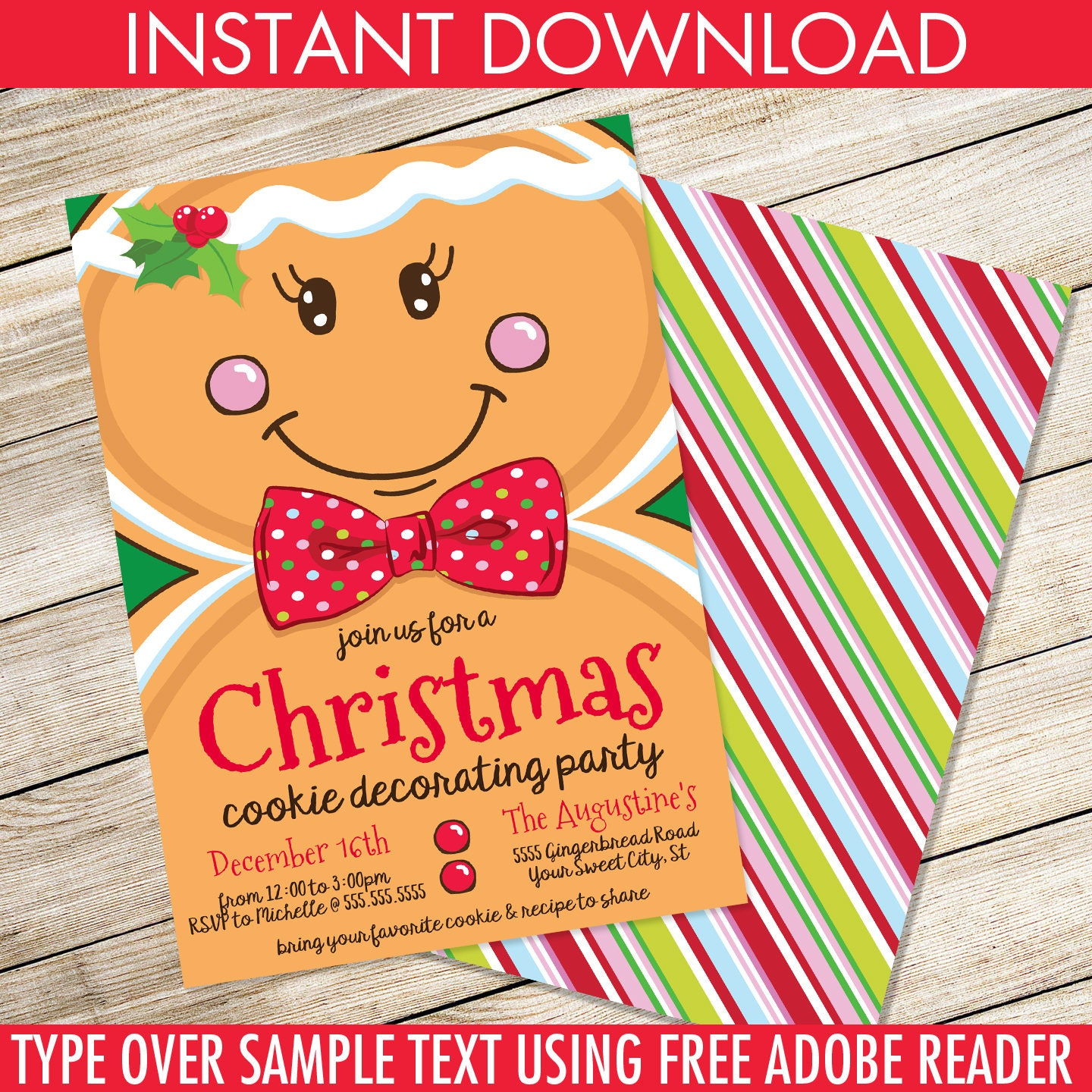 Gingerbread Man Invitation Cookie Decorating Christmas