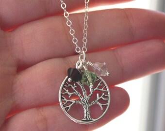 Grandma Necklace, Love Gift, New Grandma Necklace, Tree Charm Necklace, New Grandma Gift, Personalized Grandma Jewelry, Great Grandma, CCB