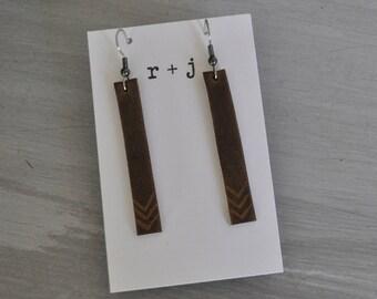 Leather earrings - bars, genuine leather, lightweight, multiple designs / Chevron leather earrings / Bar earrings / Lightweight earrings