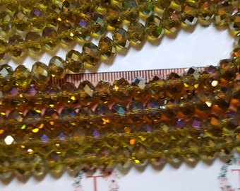 1 strand of 16 inches of 8x6mm Faceted Rondelle Olive Green Purple AB Chinese Crystal