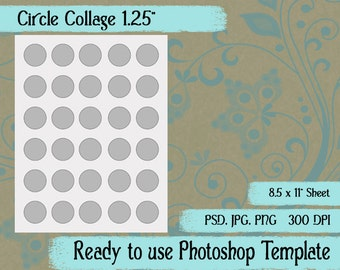 """Digital Photoshop Template for Creating Collage Sheets, Digital Tags, Digital Images - Circles 1 1/4"""""""