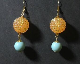 La Tropica Rainbow Orange and Turquoise Earrings