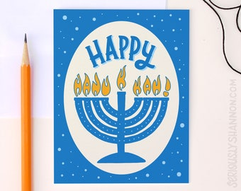 Happy hanukkah card youre jewing it right hanukkah card happy hanukkah cute hanukkah card fun hanukkah card a2 greeting card m4hsunfo